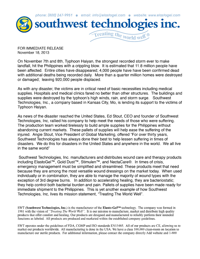 SWT Press release for the Philippines